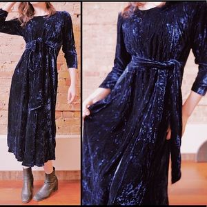 Midnight Blue Crushed Velvet Empire Waist Dress